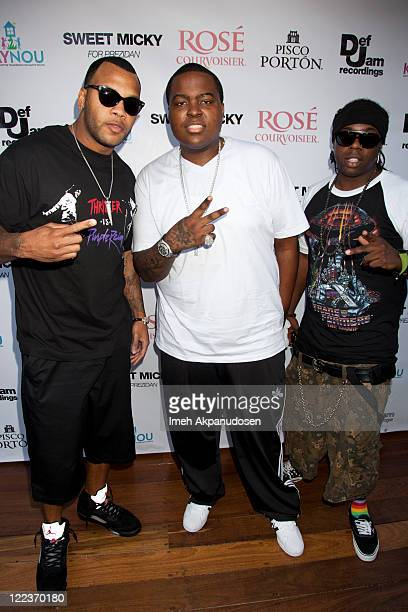Rapper Flo Rida and singer Sean Kingston attend the PreVMA Party at The Hollywood Roosevelt Pool on August 27 2011 in Los Angeles California