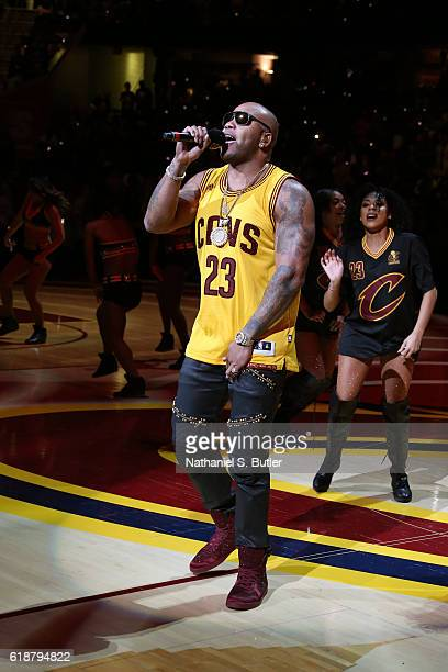 Rapper Flo Rida performs before the New York Knicks game against the Cleveland Cavaliers on October 25 2016 at Quicken Loans Arena in Cleveland Ohio...