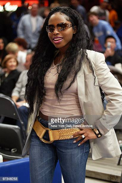 Rapper Foxy Brown is on hand to watch a game between the New York Knicks and the New Jersey Nets on New Year's Day at Madison Square Garden The Nets...