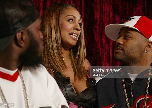 Rapper Freeway MTV host LaLa and Damon Dash attends MTV's MC Battle II The Takeover in Time Square at MTV's Time Square Studios November 22 2003 in...