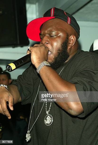 Rapper Freeway performs at the Lifebeat Hearts and Voices benefit for AIDS research on March 11 2004 at Float in New York City