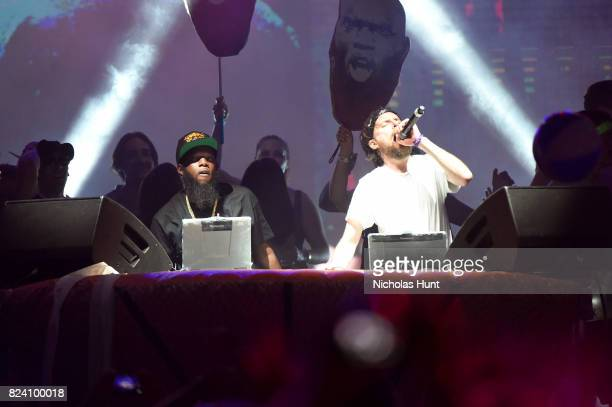 Rapper Freeway performs onstage with Girl Talk at the Pavilion during the 2017 Panorama Music Festival at Randall's Island on July 28 2017 in New...