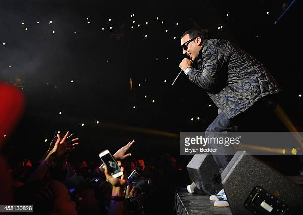 Rapper French Montana performs on stage at Power 1051's Powerhouse 2014 at Barclays Center of Brooklyn on October 30 2014 in New York City