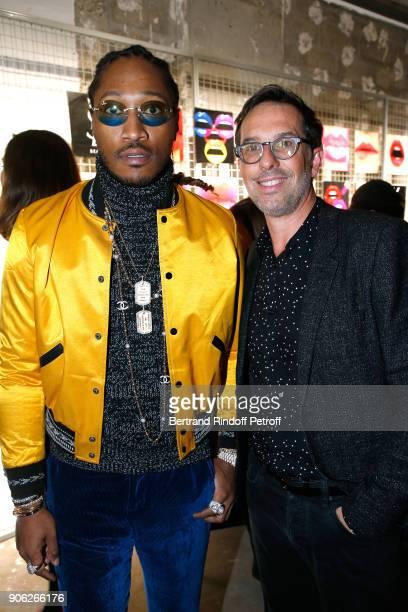 Rapper Future aka Nayvadius DeMun Wilburn and DG L'Oreal Nicolas Hieronimus attend the 'YSL Beauty Hotel' event during Paris Fashion Week Menswear...