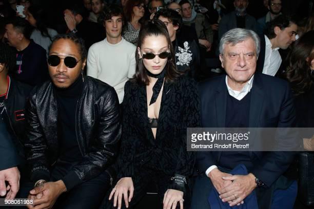Rapper Future aka Nayvadius DeMun Wilburn Model Bella Hadid and Outgoing CEO of Dior Sidney Toledano attend the Dior Homme Menswear Fall/Winter...