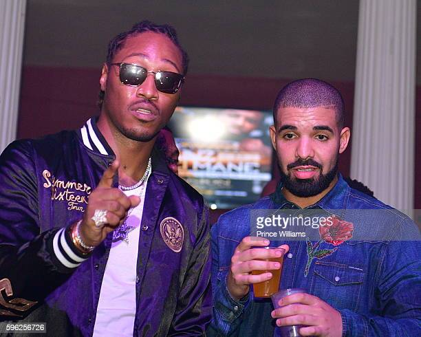 Rapper Future and Drake attend the Summer Sixteen Concert Afterparty at The Mansion Elan on August 27 2016 in Atlanta Georgia