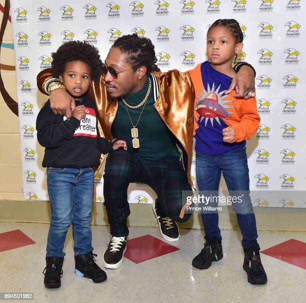 Rapper Future and His Sons Prince Wilburn and future Zahir Wilburn at the 5th annual FreeWishes Winter Wishland at Bessie Branham Park on December 17...