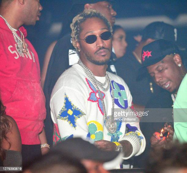 """Rapper Future and Moneybagg Yo attend the Travis Scott """"Franchise"""" celebration event at Republic Lounge on October 8, 2020 in Atlanta, Georgia."""
