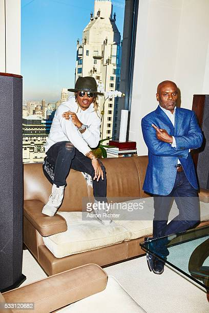Rapper Future and record producer LA Reid are photographed for Billboard Magazine on November 3 2015 at Sony Music Entertainment in New York City...