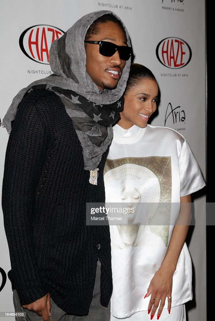 Rapper Future (L) and singer Ciara arrive at Haze Nightclub at the Aria Resort & Casino at CityCenter for a performance by Ciara on March 28, 2013 in Las Vegas, Nevada.