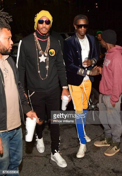 Rapper Future and Young Thug attend Gucci Mane album Release Party on November 9 2017 in Atlanta Georgia