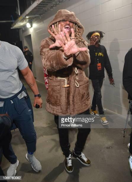 Rapper Future backstage during the Final Stop of 'Aubrey The three Amigos Tour' at State Farm Arena on November 18 2018 in Atlanta Georgia