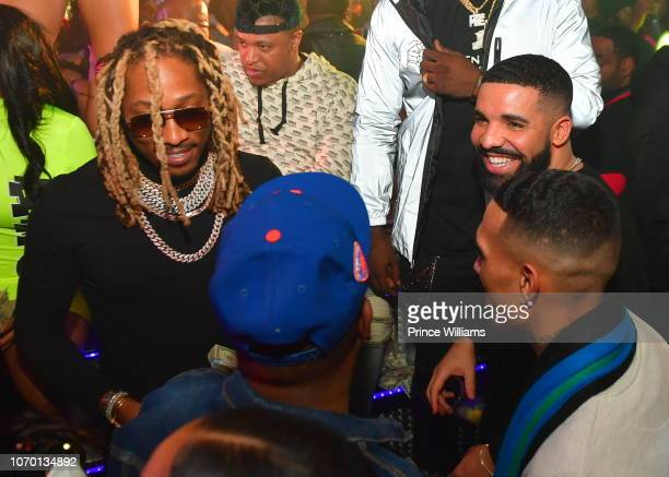 Rapper Future Chubbie Baby and Drake attend Future's 'Future City' Birthday Party at Magic City on November 20 2018 in Atlanta Georgia