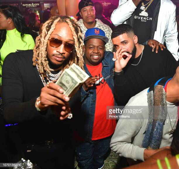 Rapper Future Chubbie Baby and Drake attend Future's 'Future City' Birthday Party at Magic City on November 20 2018 in Atlanta Georgia
