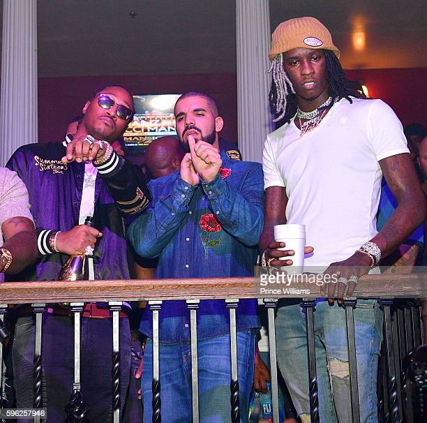 Rapper Future Drake and Young Thug attend the Summer Sixteen Concert After Party at The Mansion Elan on August 27 2016 in Atlanta Georgia