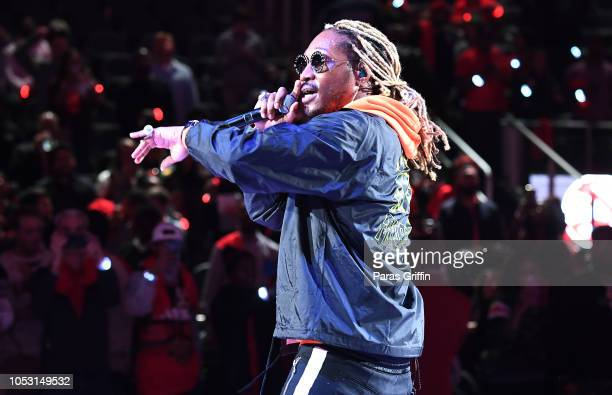 Rapper Future performs in concert after the game between the Dallas Mavericks and the Atlanta Hawks on October 24, 2018 at State Farm Arena in...