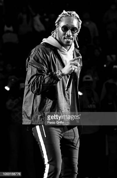 Rapper Future performs in concert after the game between the Dallas Mavericks and the Atlanta Hawks on October 24 2018 at State Farm Arena in Atlanta...
