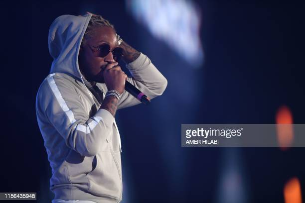 Rapper Future performs on stage during the Jeddah World music Festival on July 18 at the King Abdullah Sports City in the coastal city of Jeddah. -...