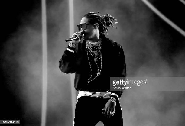 Rapper Future performs on the Coachella Stage during day 3 of the Coachella Valley Music And Arts Festival at the Empire Polo Club on April 16 2017...