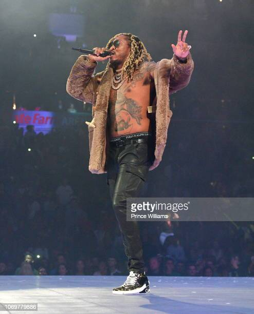 Rapper Future performs onstage during the Final Stop of 'Aubrey The three Amigos Tour' at State Farm Arena on November 18 2018 in Atlanta Georgia