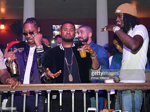 Rapper Future Usher Drake and Young Thug attend the Summer Sixteen Concert After Party at The Mansion Elan on August 27 2016 in Atlanta Georgia
