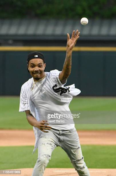 Rapper G Herbo throws out a ceremonial first pitch before the game between the Chicago White Sox and the Washington Nationals at Guaranteed Rate...