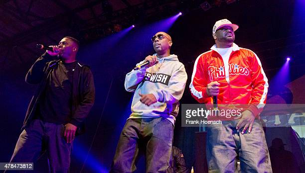Rapper Gary Grice aka GZA Jason Hunter aka Inspectah Deck and Dennis Coles aka Ghostface Killah of WuTang Clan perform live during a concert at the...