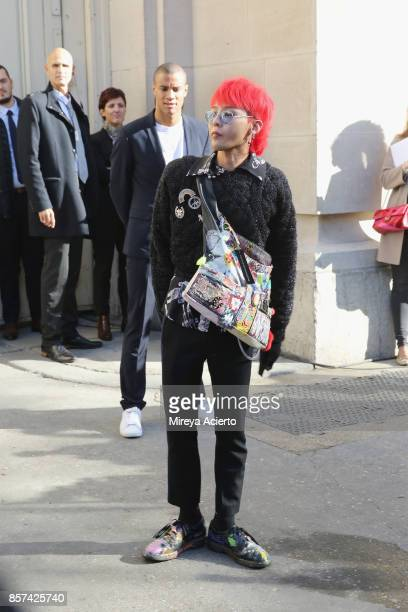 Rapper GDragon attends the Chanel show as part of the Paris Fashion Week Womenswear Spring/Summer 2018 on October 3 2017 in Paris France