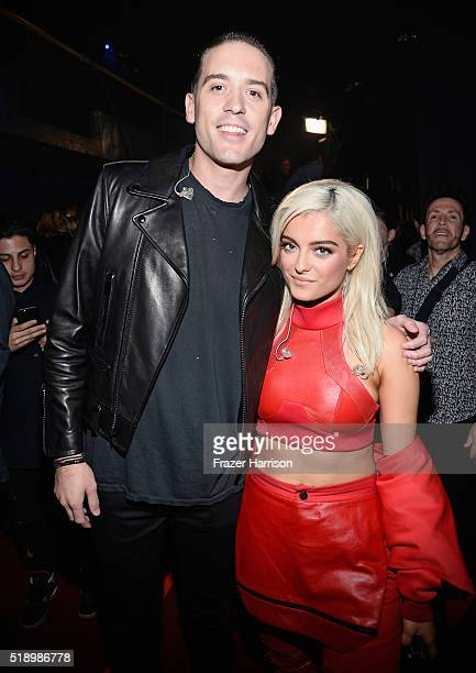 Rapper GEazy and singer Bebe Rexha backstage at the iHeartRadio Music Awards which broadcasted live on TBS TNT AND TRUTV from The Forum on April 3 20