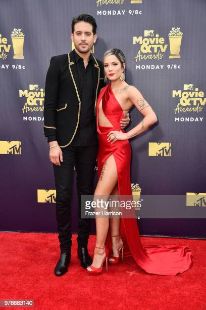 Rapper GEazy and singer Halsey attend the 2018 MTV Movie And TV Awards at Barker Hangar on June 16 2018 in Santa Monica California