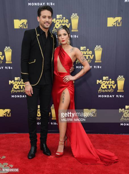 US rapper GEazy and singer Halsey attend the 2018 MTV Movie TV awards at the Barker Hangar in Santa Monica on June 16 2018 This year's show is not...