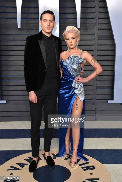 Rapper GEazy and singer Halsey attend the 2018 Vanity Fair Oscar Party hosted by Radhika Jones at Wallis Annenberg Center for the Performing Arts on...