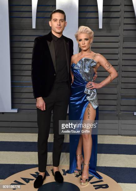 Rapper G-Eazy and singer Halsey attend the 2018 Vanity Fair Oscar Party hosted by Radhika Jones at Wallis Annenberg Center for the Performing Arts on...