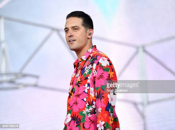 Rapper GEazy performs as a special guest on the Coachella stage during week 1 day 3 of the Coachella Valley Music and Arts Festival on April 15 2018...