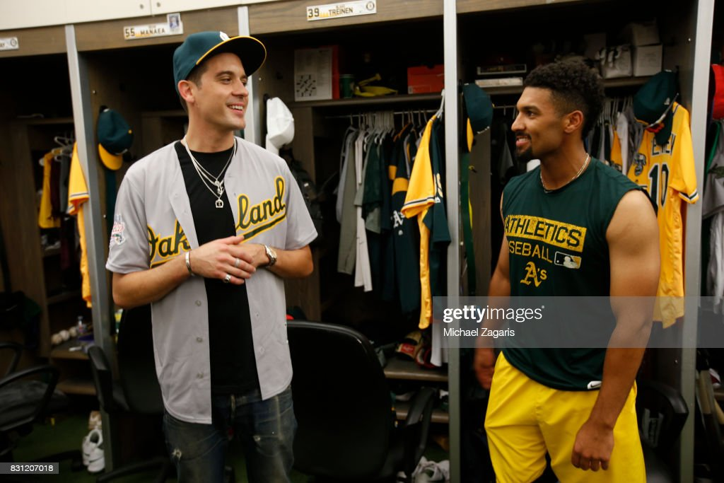 sale retailer 209fa c0b21 Rapper G-Eazy talks with Marcus Semien of the Oakland ...
