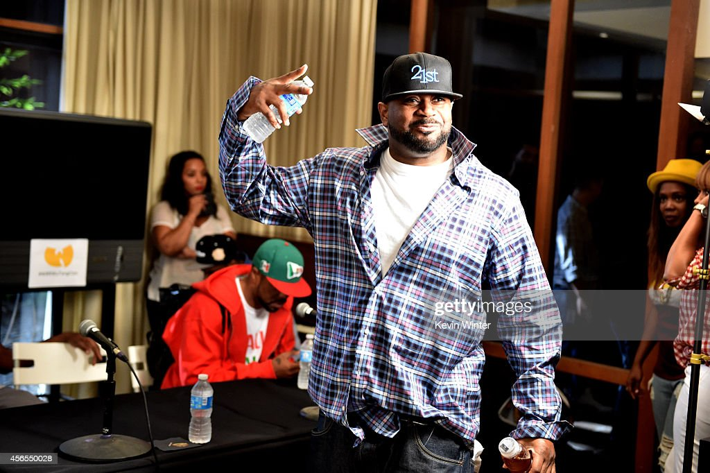 Rapper Ghostface Killah of the Wu-Tang Clan poses at a press conference to announce they have signed with Warner Bros. Records at Warner Bros. Records on October 2, 2014 in Burbank, California.