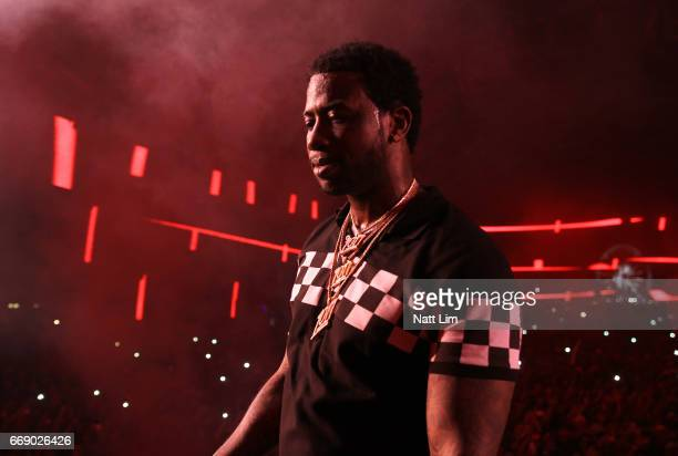 Rapper Gucci Mane performs on the Sahara Stage during day 2 of the Coachella Valley Music And Arts Festival at the Empire Polo Club on April 14 2017...