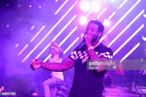 9857b68bf55 Rapper Gucci Mane performs on the Sahara Stage during day 2 of the  Coachella Valley Music