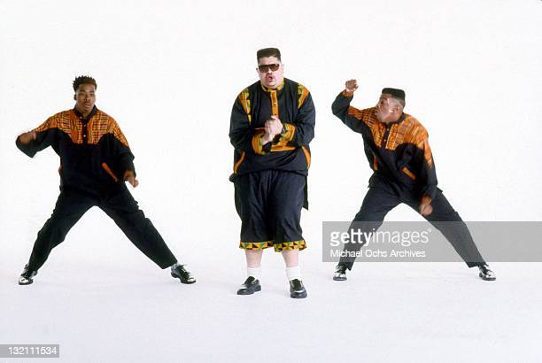 Rapper Heavy D And The Boyz on the set of a video circa 1988 in New York City New York