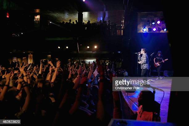 Rapper Hoodie Allen performs onstage during the MTV Artists to Watch at House of Blues Sunset Strip on February 5 2015 in West Hollywood California