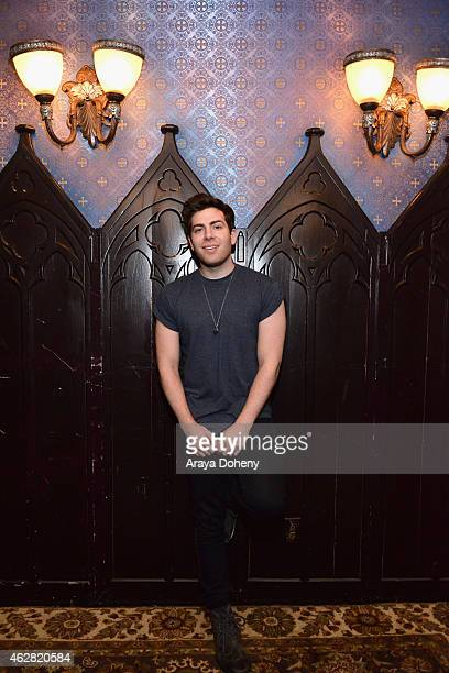 Rapper Hoodie Allen poses backstage during MTV Artists to Watch at House of Blues Sunset Strip on February 5 2015 in West Hollywood California