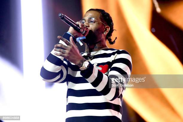 Rapper Hoodrich Pablo Juan performs onstage during day two of the Rolling Loud Festival at NOS Events Center on December 17 2017 in San Bernardino...