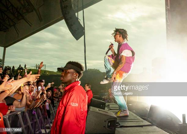 Rapper iann dior performs at Michigan Lottery Amphitheatre on September 03, 2021 in Sterling Heights, Michigan.
