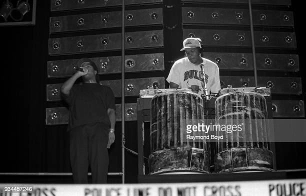 Rapper Ice Cube and Dr Dre from NWA performs during the 'Straight Outta Compton' tour at the Genesis Convention Center in Gary Indiana in July 1989