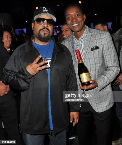 Rapper Ice Cube and former NBA player attend the NBA AllStar Bowling Classic at Lucky Strike LA Live on February 15 2018 in Los Angeles California