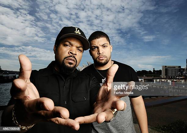 US Rapper Ice Cube and his son O'Shea Jackson Jr are in Sydney to promote their new movie Straight Outta Compton September 2 2015 Jackson plays his...