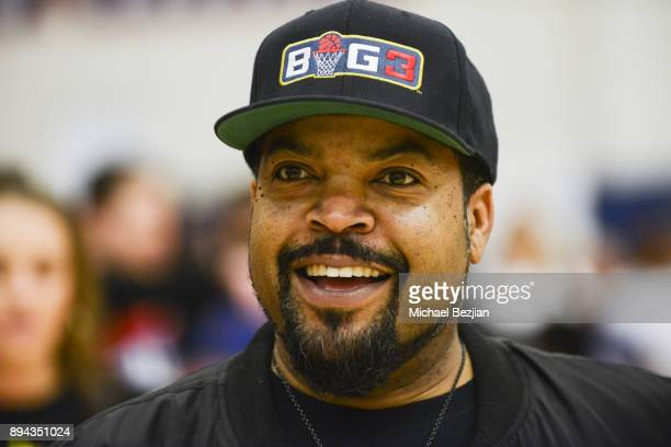 Rapper Ice Cube coachs during Baron Davis hosts Black Santa Celebrity Basketball Fundraiser on December 16 2017 in Santa Monica California