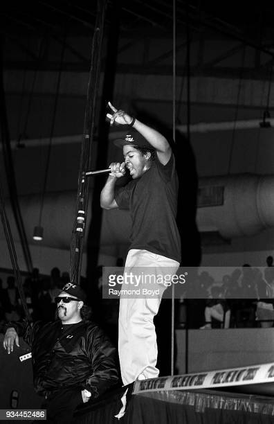 Rapper Ice Cube from NWA performs during the 'Straight Outta Compton' tour at the UIC Pavilion in Chicago Illinois in June 1989