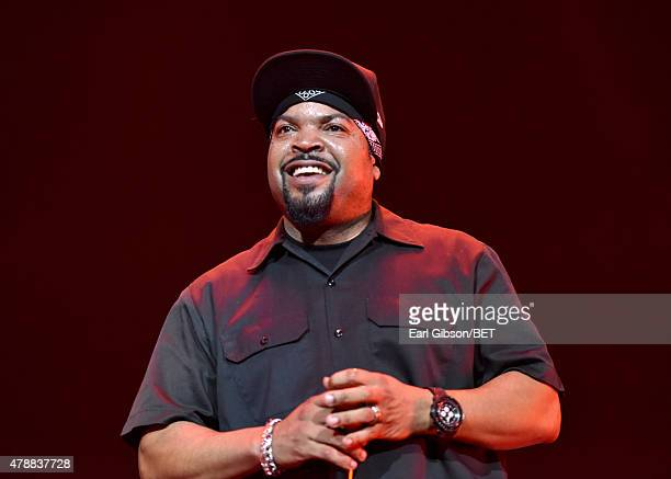 Rapper Ice Cube performs onstage during the Ice Cube, Kendrick Lamar, Snoop Dogg, Schoolboy Q, Ab-Soul, Jay Rock concert at Staples Center on June...