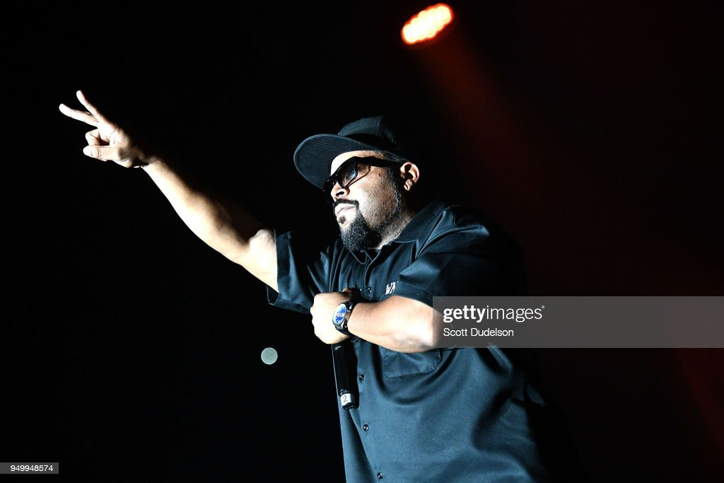 Rapper Ice Cube performs onstage during the KDay 93.5 Krush Groove concert at The Forum on April 21, 2018 in Inglewood, California.